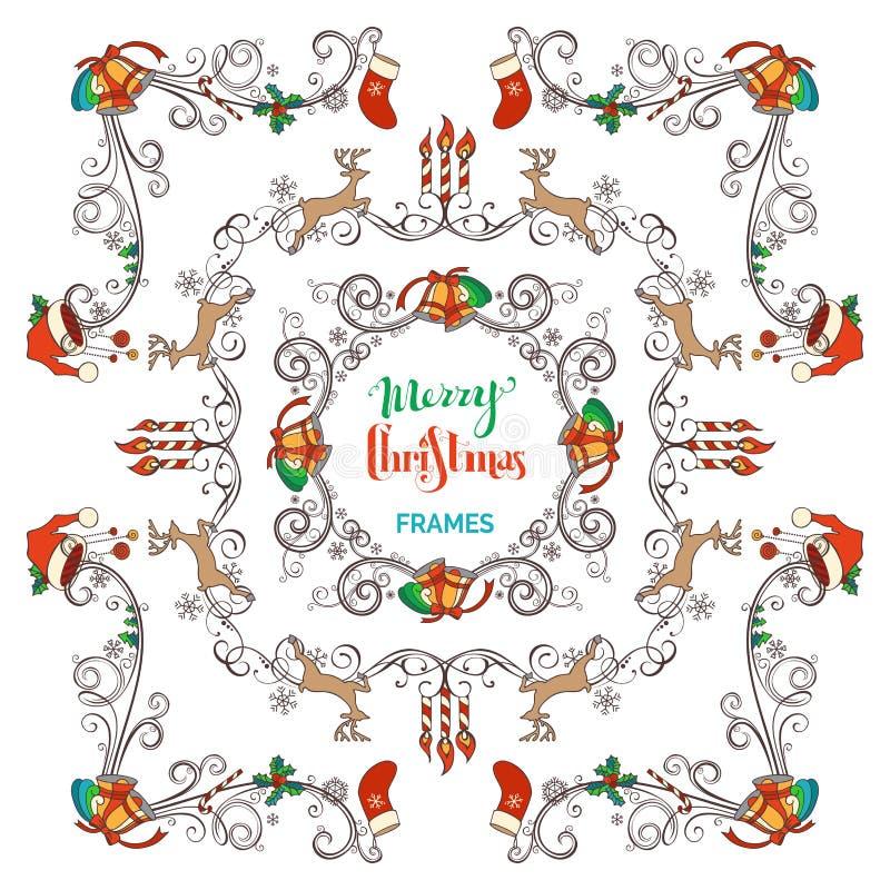 Strutture d'annata di Natale messe illustrazione vettoriale