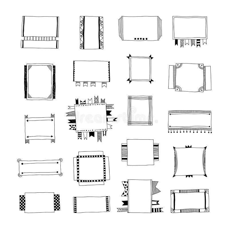 Strutture decorative di scarabocchio, insegne, nastri, confini, elementi differenti di progettazione illustrazione vettoriale