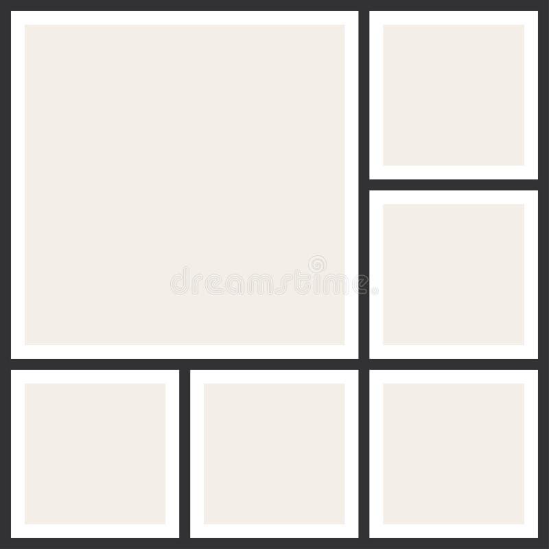 Strutture del collage della foto Album di foto d'annata, modello di applicazione illustrazione di stock