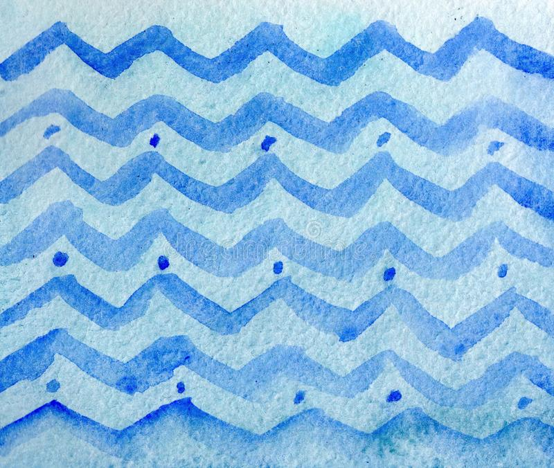 Strutture dell'inchiostro blu e dell'acquerello di inverno variopinto sul fondo di Libro Bianco Illustrazione astratta geometrica royalty illustrazione gratis
