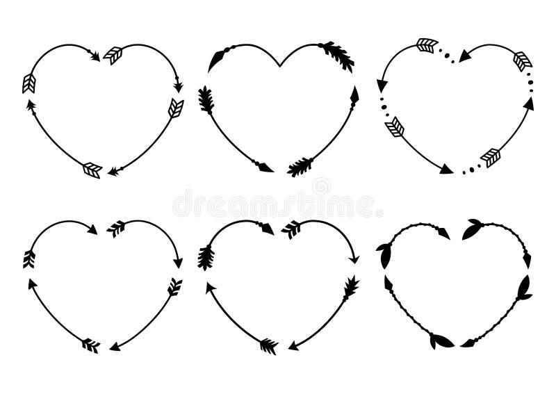 Strutture della freccia del cuore Monogrammi del cuore Frecce dei pantaloni a vita bassa Frecce nello stile di boho Frecce tribal illustrazione vettoriale