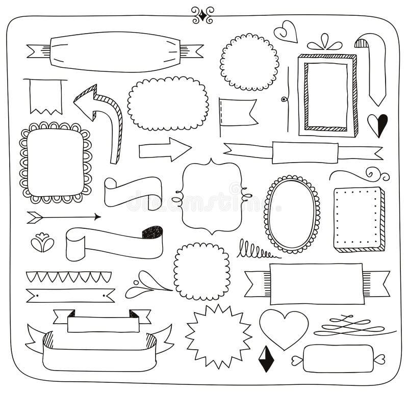 Strutture delle insegne di scarabocchio ed elementi di progettazione illustrazione di stock