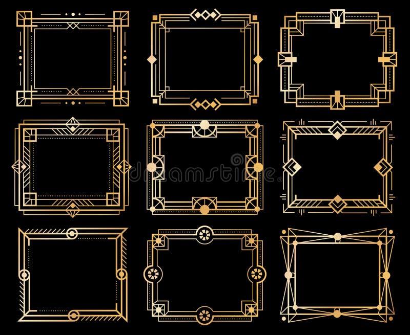 Strutture di art deco Confini della struttura di immagine di deco dell'oro, linea dorata modelli della geometria elementi di luss illustrazione vettoriale