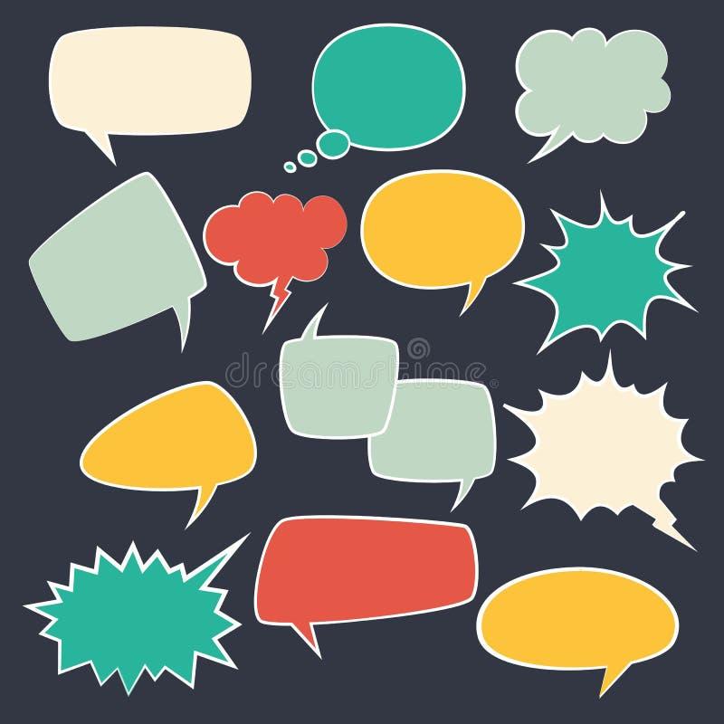 Strutture di discorso Parli l'insieme della bolla dei bambini con parlare l'ovale comico delle nuvole di conversazione d'annata p illustrazione di stock
