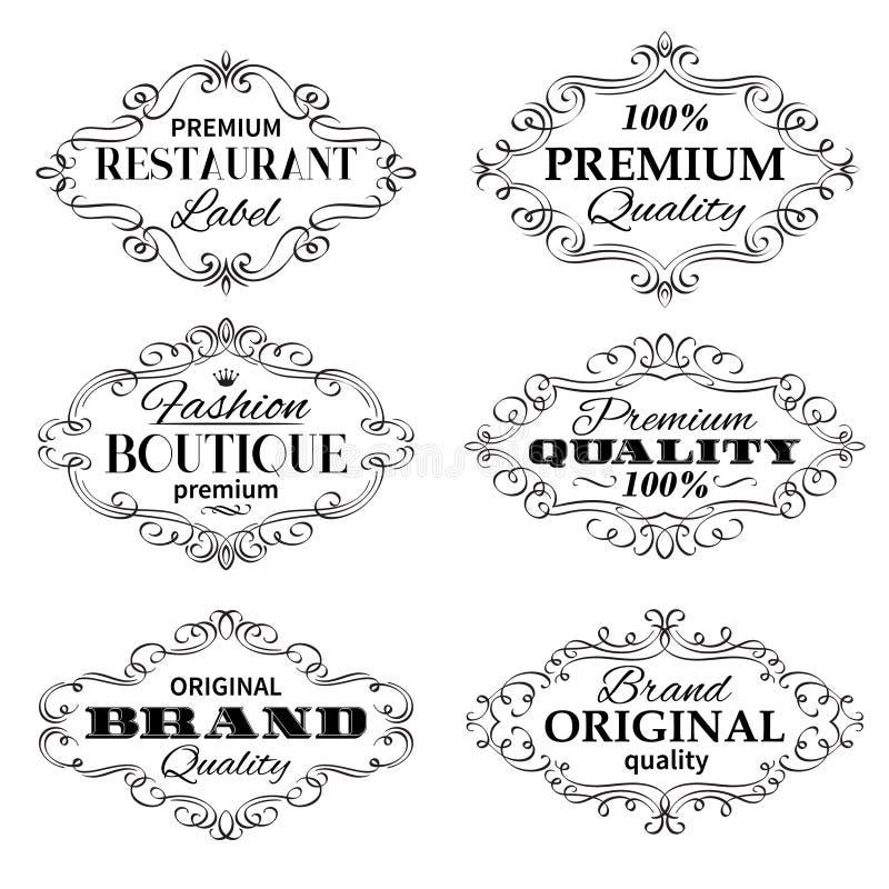 Strutture di etichette d'annata delle insegne di vettore royalty illustrazione gratis