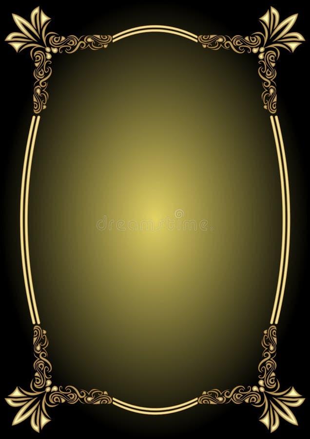 Strutture di etichette dorate delle insegne di vettore d'annata Elementi calligrafici di disegno Decorativo rasenti la pendenza s royalty illustrazione gratis