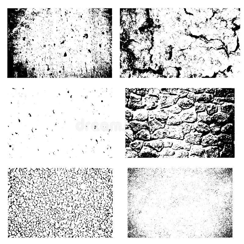 Strutture di Grunge fissate Ambiti di provenienza di terra incrinata, asfalto, parete di pietra, ciottoli illustrazione vettoriale