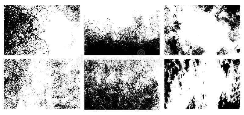 Strutture di Grunge fissate backgrounds Superfici astratte monocromatiche del grano per progettazione illustrazione vettoriale