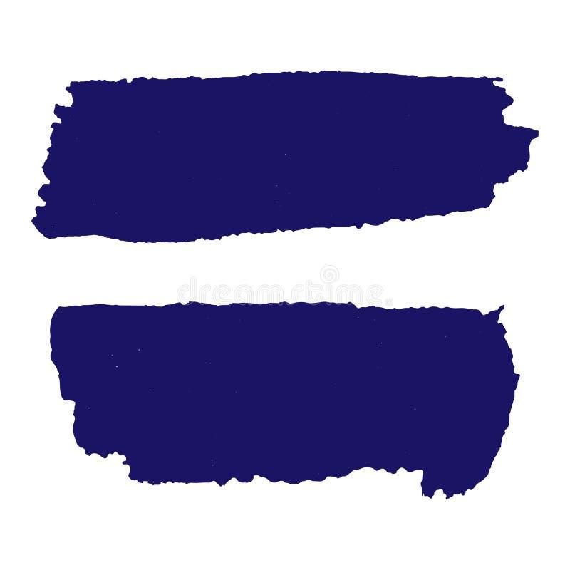 Strutture di Grunge fissate Spazzola orizzontale blu scuro su blu scuro illustrazione di stock