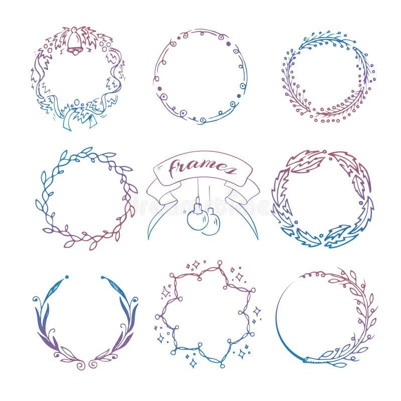 Strutture disegnate a mano variopinte della corona di natale messe royalty illustrazione gratis