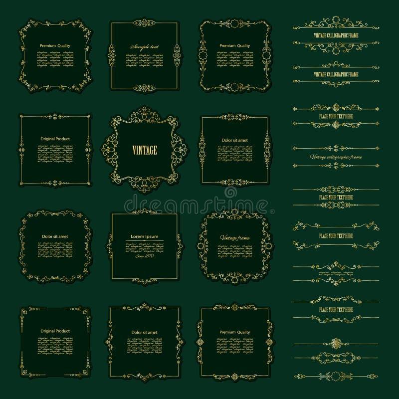 strutture dorate e divisori messi illustrazione vettoriale