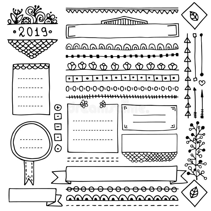 Strutture e confini svegli di scarabocchio per il giornale della pallottola illustrazione di stock