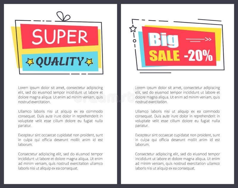 Strutture eccellenti dell'autoadesivo di promo di qualità sul testo del manifesto illustrazione di stock