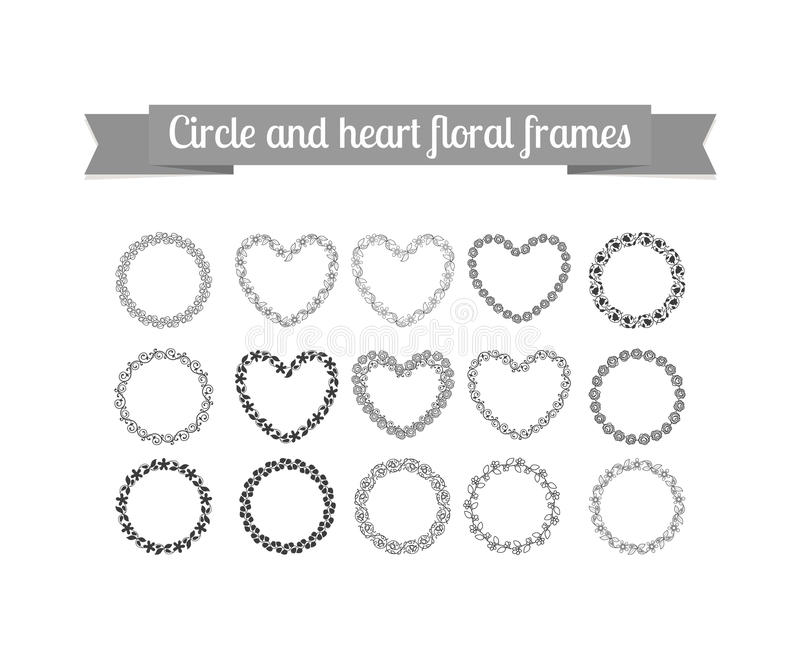 Strutture floreali del cuore e del cerchio messe illustrazione di stock