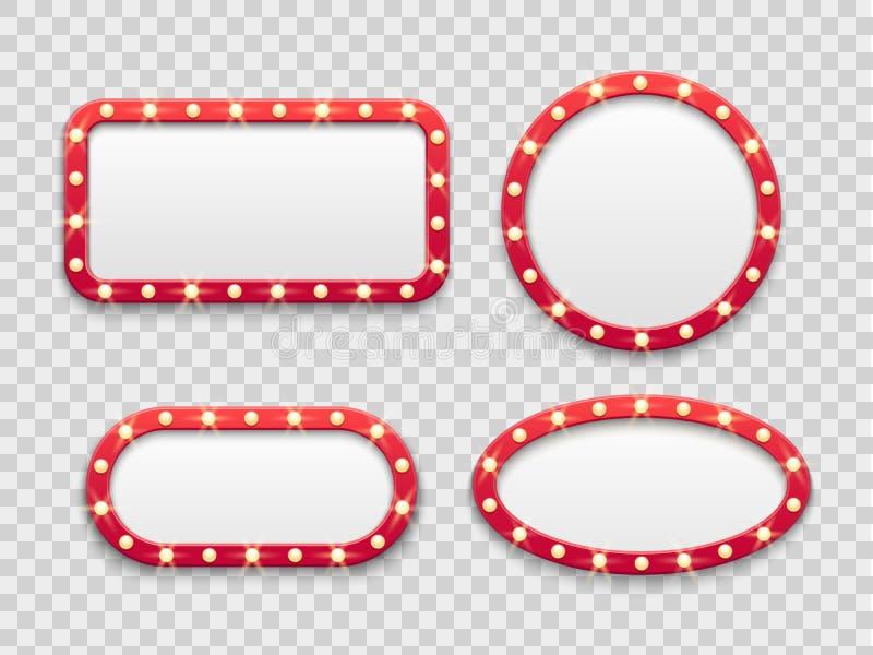 Strutture leggere della tenda foranea D'annata in tondo e segni rossi vuoti rettangolari del casinò e del cinema con le lampadine illustrazione di stock