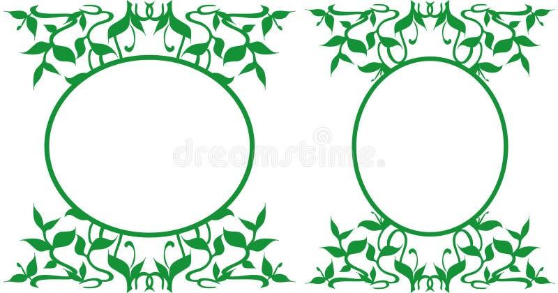 Strutture ovali decorate, illustrazione - tema floreale illustrazione di stock