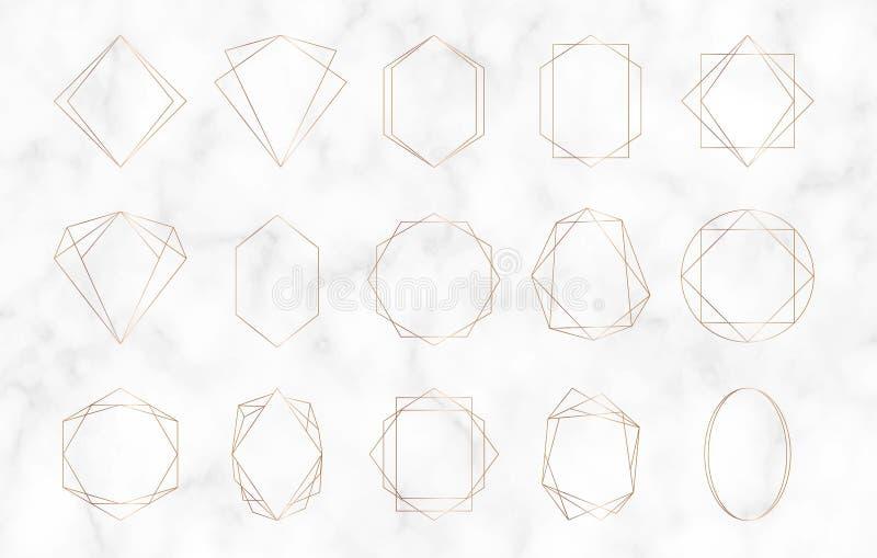 Strutture poligonali geometriche dell'oro Linee confini decorative Elementi di lusso per l'invito di nozze, post del blog, insegn royalty illustrazione gratis