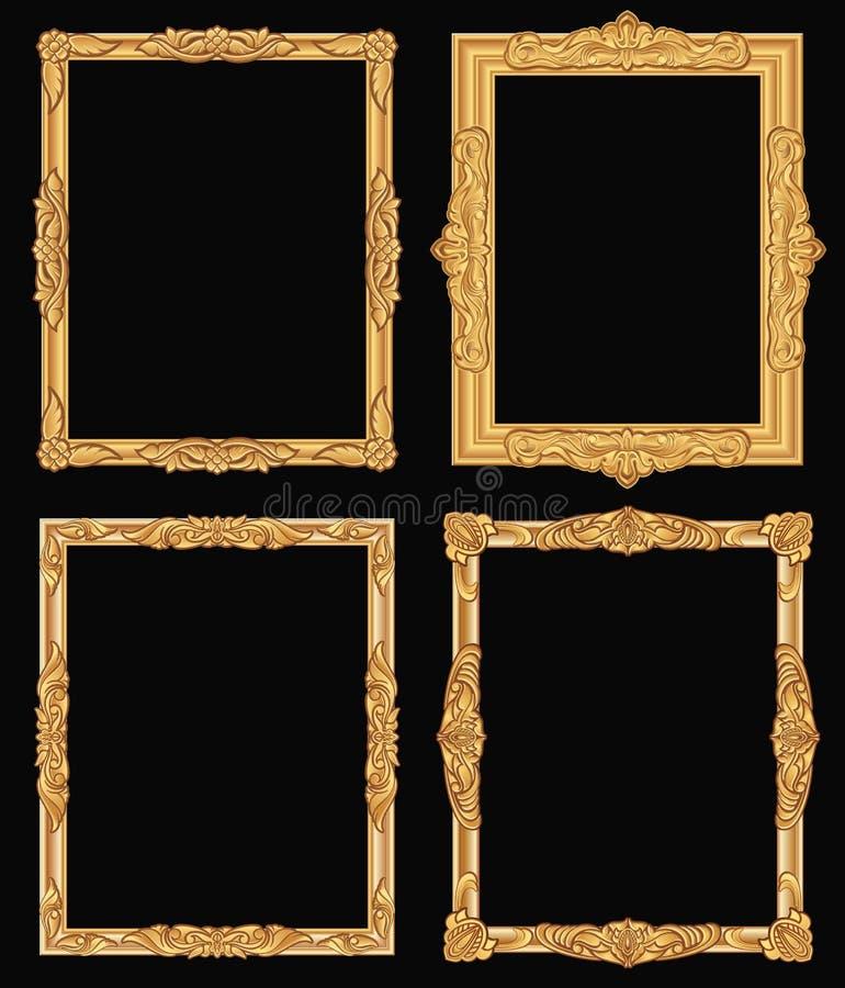 Strutture quadrate decorate dell'oro d'annata isolate Retro confini dorati di lusso brillanti di vettore royalty illustrazione gratis