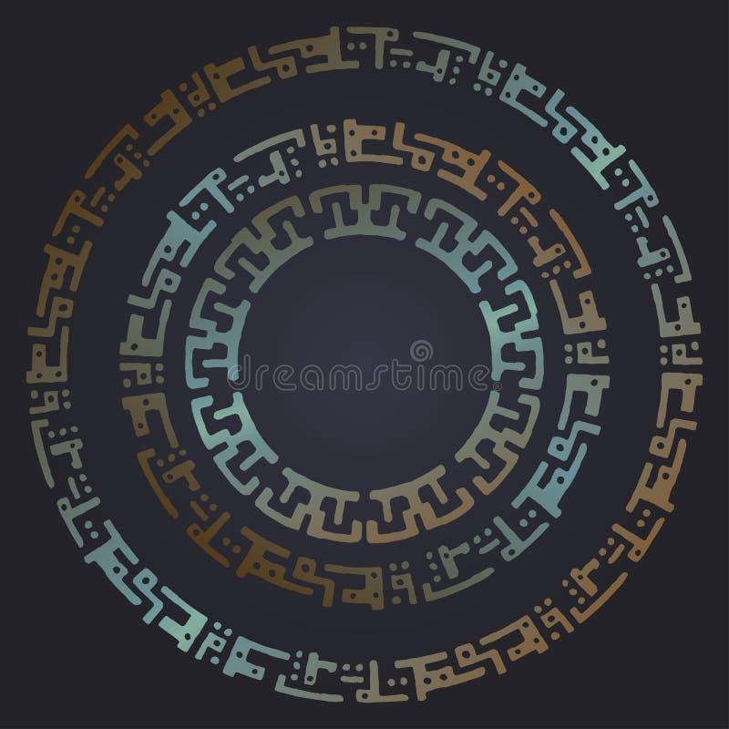 Strutture rotonde futuristiche techne Contesto arrugginito del metallo Fondo di vettore illustrazione di stock