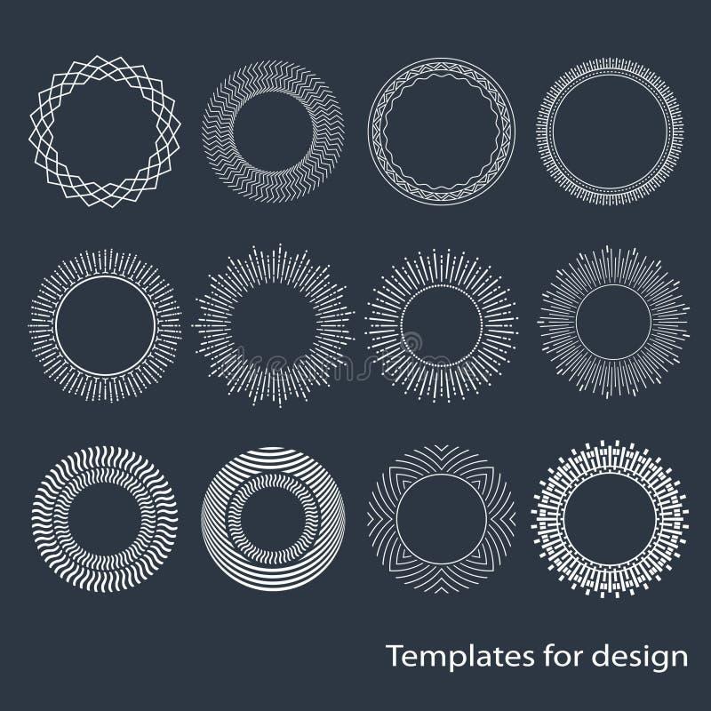 Strutture rotonde originali di Seth Modelli degli elementi di progettazione Raggi di Sun minimalism Oggetti d'annata monogramma D illustrazione vettoriale