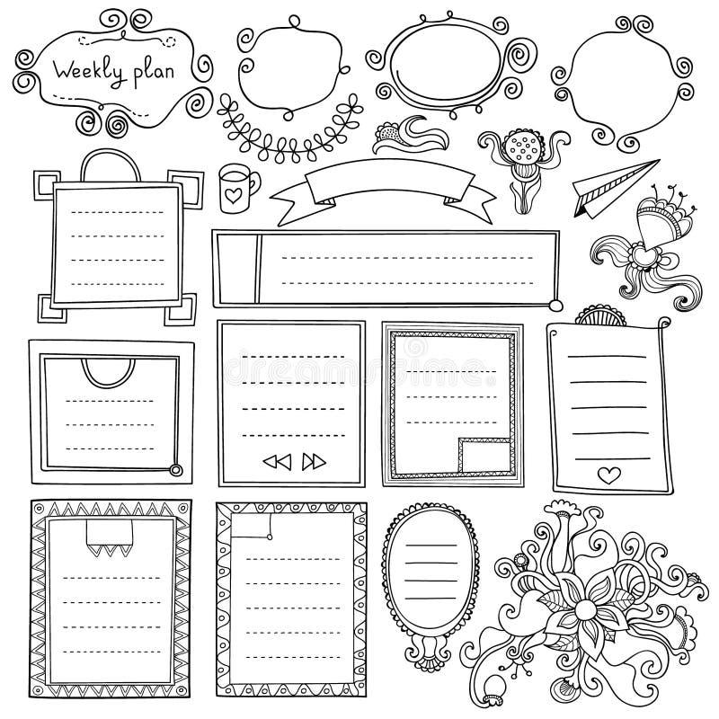Strutture sveglie ed elementi di progettazione floreale per il pianificatore illustrazione di stock
