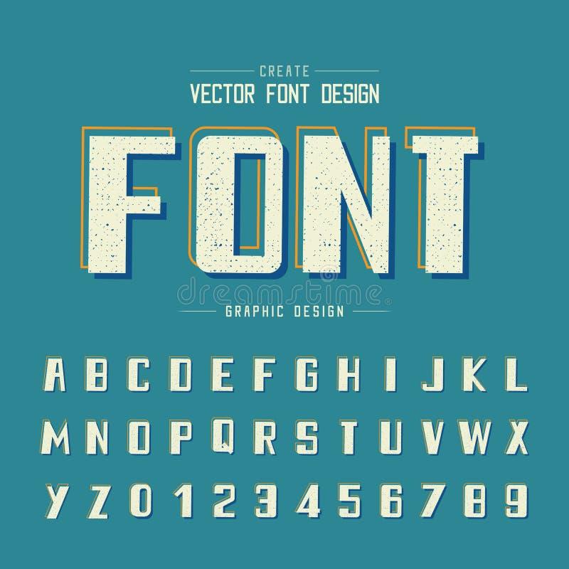 Strutturi il vettore dell'alfabeto di lerciume e della fonte, il grassetto e la progettazione di numero, testo grafico su fondo b illustrazione vettoriale