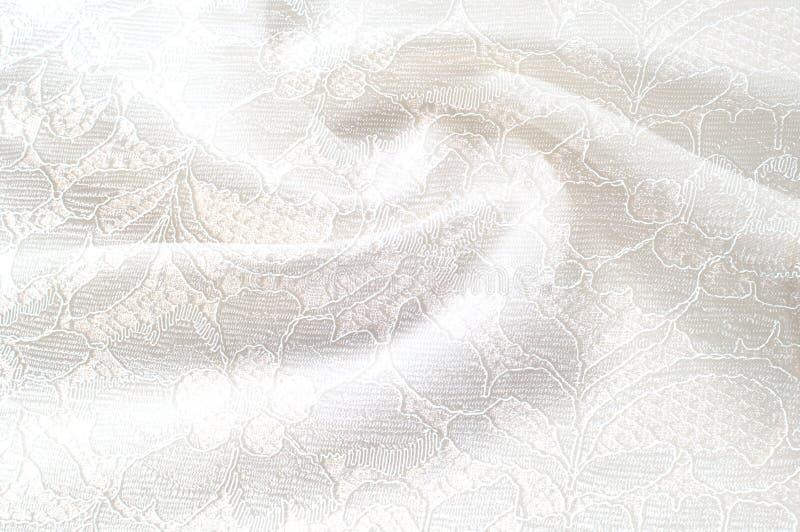 Strutturi l'immagine di sfondo, fondo bianco con il fiore del pizzo tex fotografie stock libere da diritti