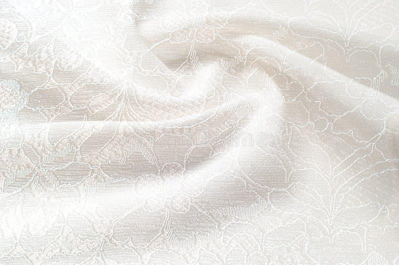 Strutturi l'immagine di sfondo, fondo bianco con il fiore del pizzo tex fotografia stock