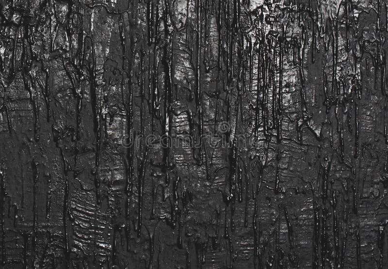 Strutturi la parete con pittura scorrente, fondo nero immagini stock