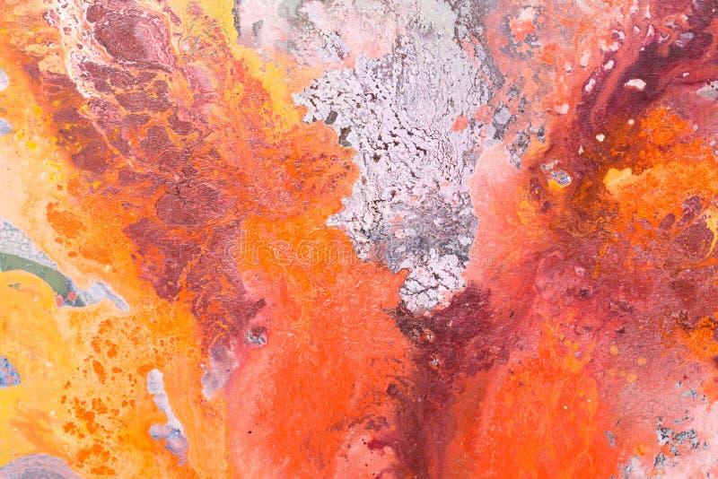 Strutturi la pittura a olio, la struttura dei colpi della spazzola, colori vibranti immagine stock