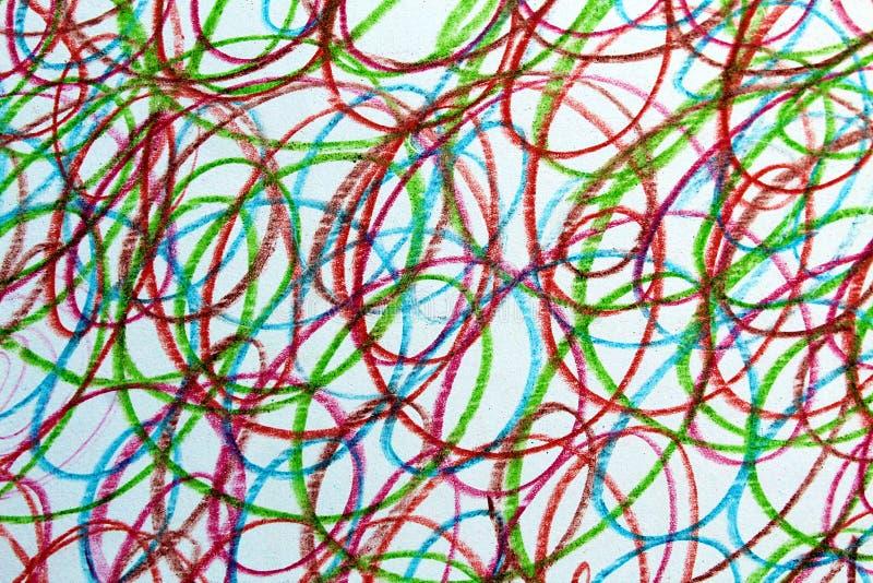 Strutturi lo scarabocchio che i colori differenti tirati disegnano a matita il fondo fotografia stock