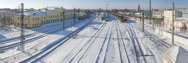 Stryi, Ukraine - February10, 2017: Stryi railway station. Commuter train waiting passengers royalty free stock photo