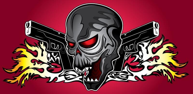 Stryka den mänskliga skallen för terminatorcyberen med pistol- och brandflammabakgrund royaltyfri illustrationer