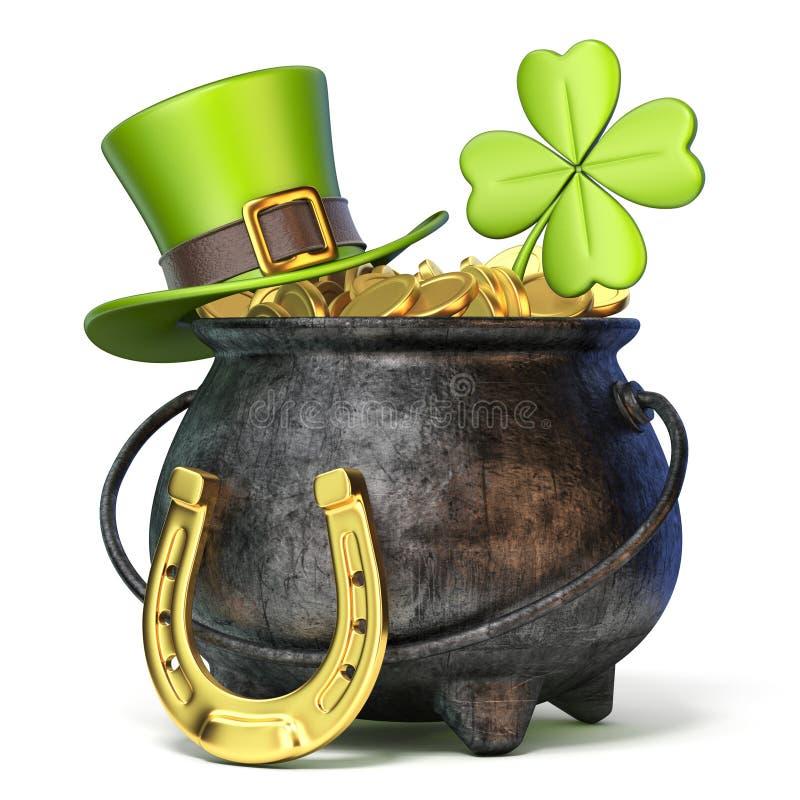 Stryka krukan mycket av guld- mynt, den gröna hatten för dagen för St Patrick ` s, clov royaltyfri illustrationer
