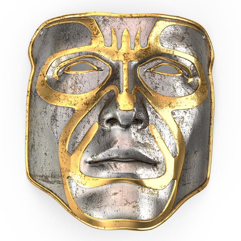 Stryka maskeringen på framsida, med guld- mellanlägg på isolerad vit bakgrund illustration 3d royaltyfri foto