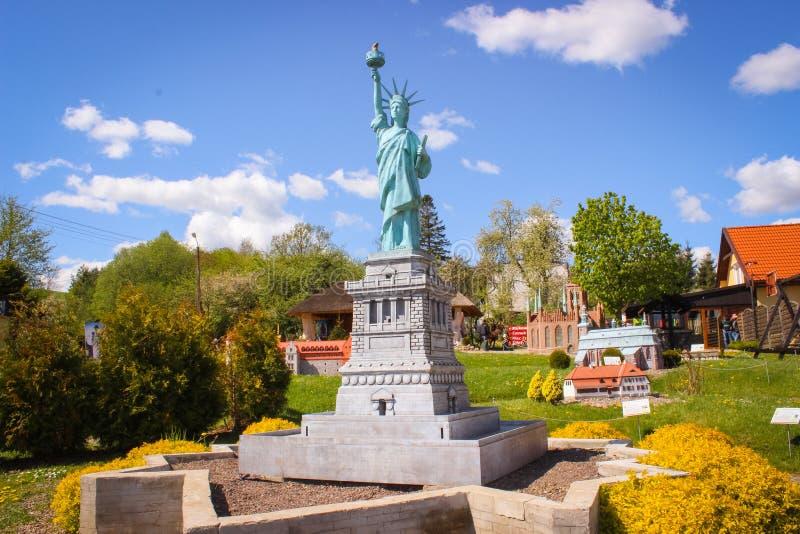 Strysza Buda, Poland - May 03, 2014: miniature Park. The statue of liberty. Strysza Buda,Pomeranian Voivodeship, Poland - May 03, 2014: Kaszubski Park Miniatur stock photo