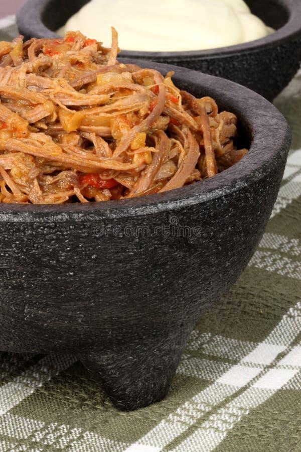 strzępiący meksykańscy wołowina salsa obraz stock