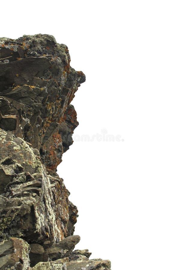 Strzępiaści skaliści skała kamienie na białym tle Naturalny falezy zakończenie obraz royalty free