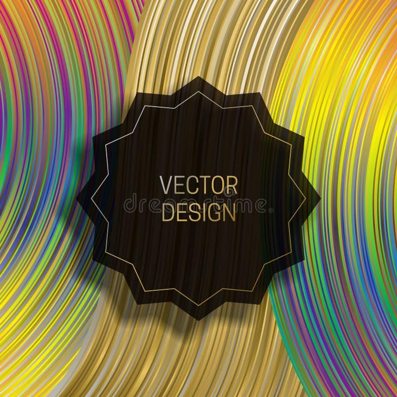 Strzępiasta round rama na dynamicznym kolorowym tle Modny holograficzny pakuje projekt lub okładkowy szablon royalty ilustracja