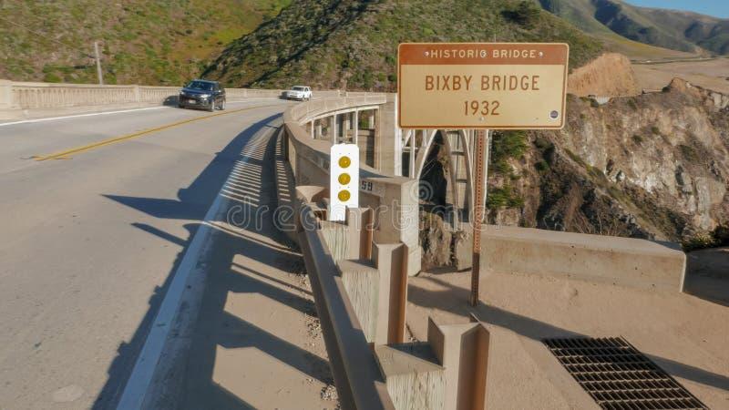 Strzał bixby most na autostradzie 1 wzdłuż California wybrzeża zdjęcia stock