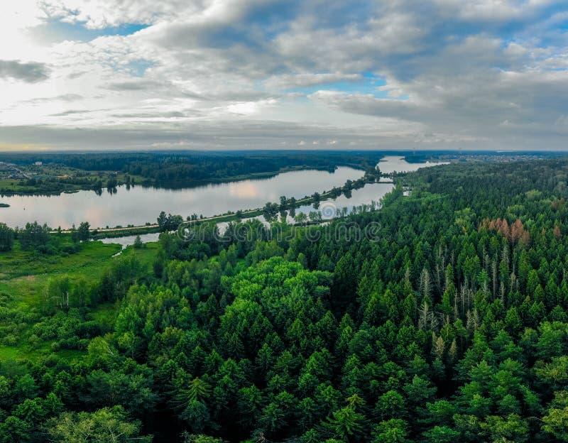 Strzał od trutnia zielony las i rzeka w Rosja obrazy royalty free