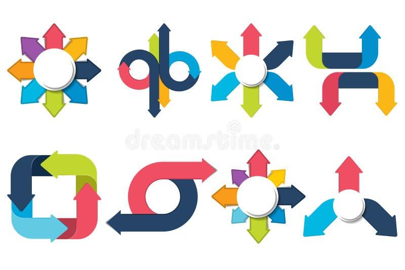 Strzała biznes infographic Strzałkowaty szablon Strzałkowata wektorowa ilustracja ilustracji