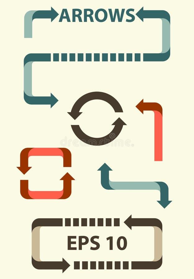 strzała i kierunki prawi, znaki opuszczać, w górę puszka ilustracji