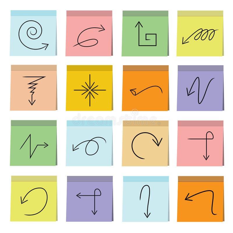 Strzała i znak ikon kleisty nutowy papier ilustracja wektor
