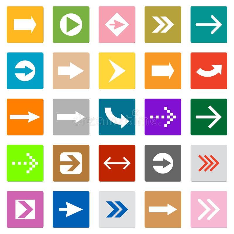 Strzała ikony setu kwadrata kształta interneta szyldowy guzik ilustracja wektor