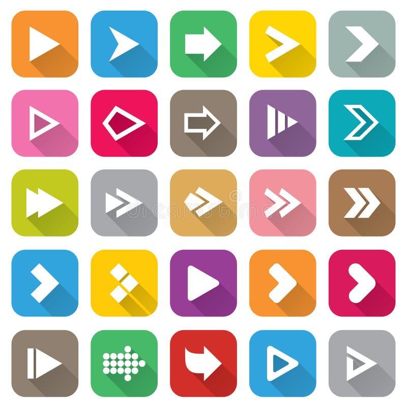Strzała ikony szyldowy set. 25 Płaskich guzików dla sieci. royalty ilustracja
