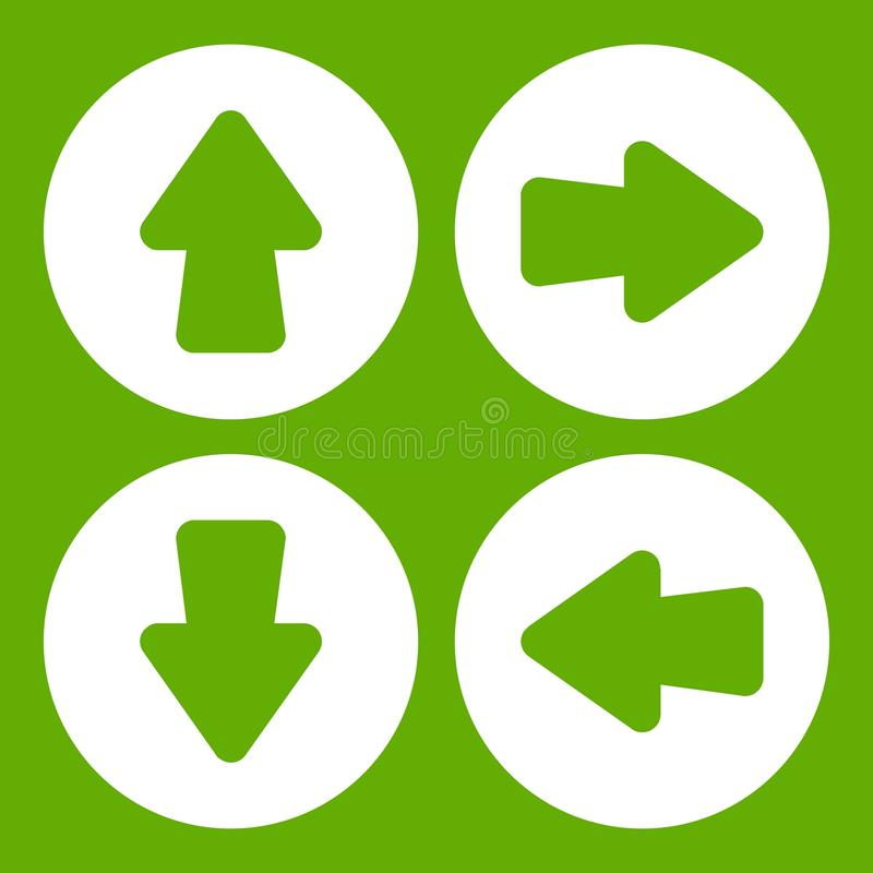 Strzała ikony ustalona zieleń ilustracji