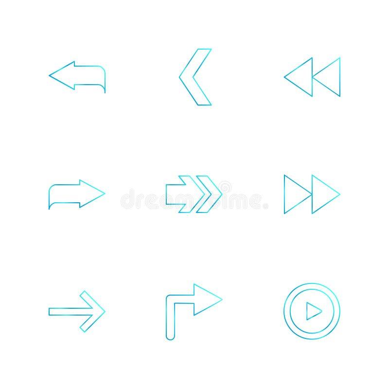strzała, kierunki, pointer, strzała, eps ikony ustawiają wektor ilustracji