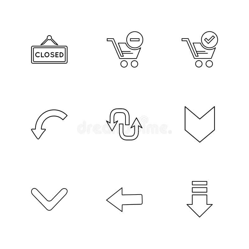 strzała, kierunki, pointer, strzała, interfejs użytkownika, strzała, royalty ilustracja