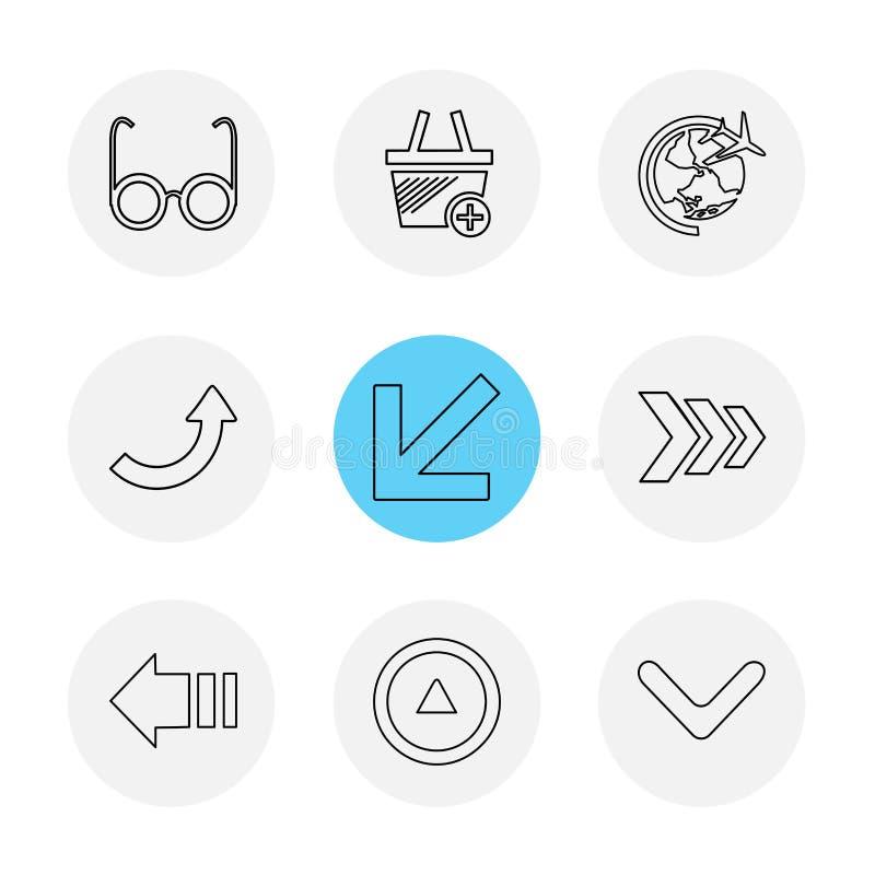 strzała, kierunki, pointer, strzała, interfejs użytkownika, strzała, ilustracji